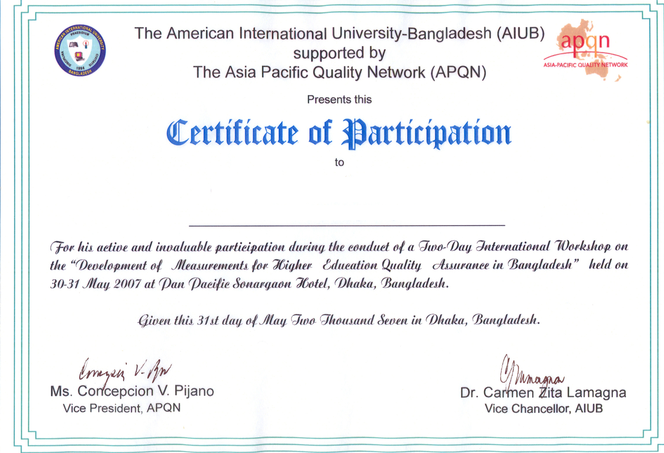 Aiub and apqn jointly organized international workshop for Certificate of participation template ppt